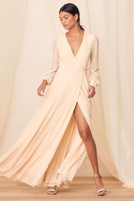 My Whole Heart Cream Long Sleeve Wrap Maxi Dress