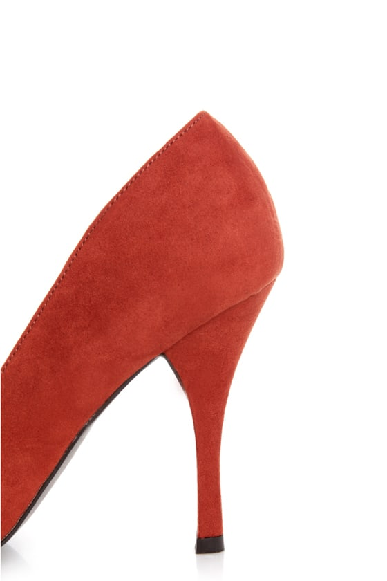 Holly 31 Rusty Orange Studded Cap-Toe Pointed Pumps