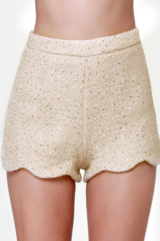 Endless Posh-ibilities Beige Sequin Shorts