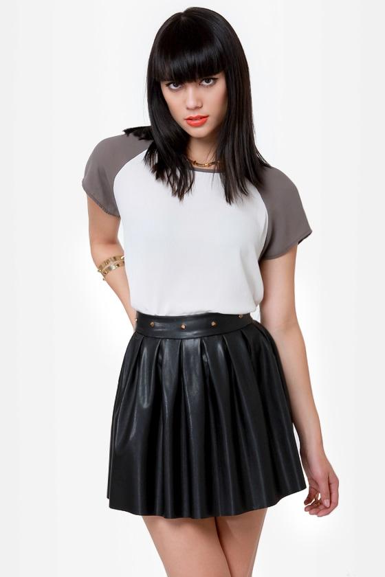 That Girl Studded Black Vegan Leather Skirt at Lulus.com!
