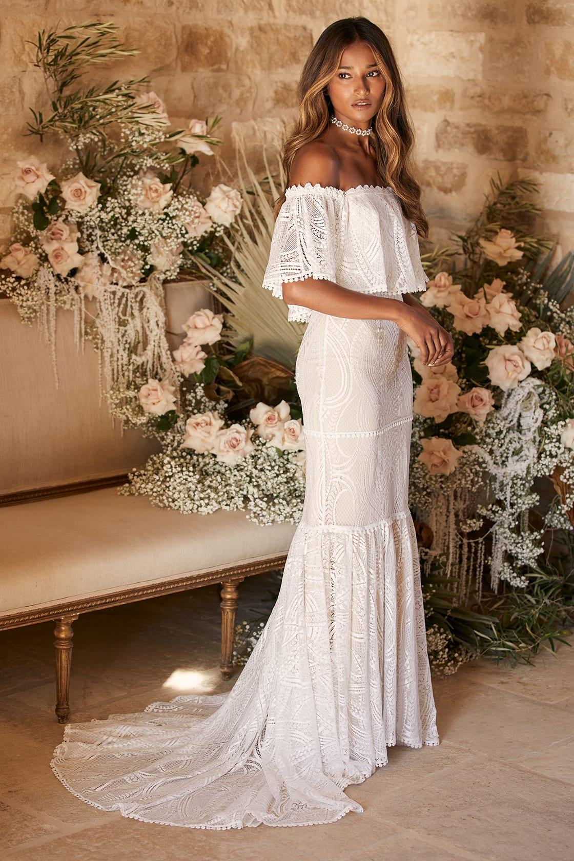 In My Life White Lace Off-the-Shoulder Mermaid Maxi Dress