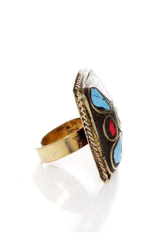 Praising Arizona Red and Turquoise Cocktail Ring