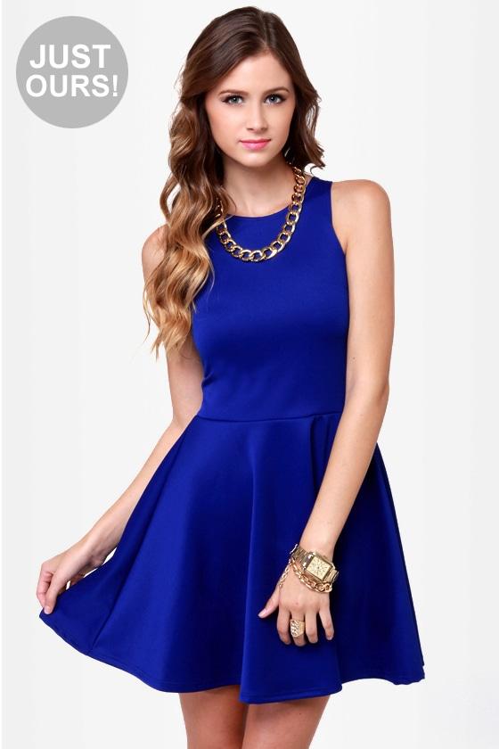 Cute Racer Back Dress Royal Blue Dress Skater Dress