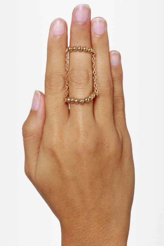 Twofer Gold Knuckle Ring