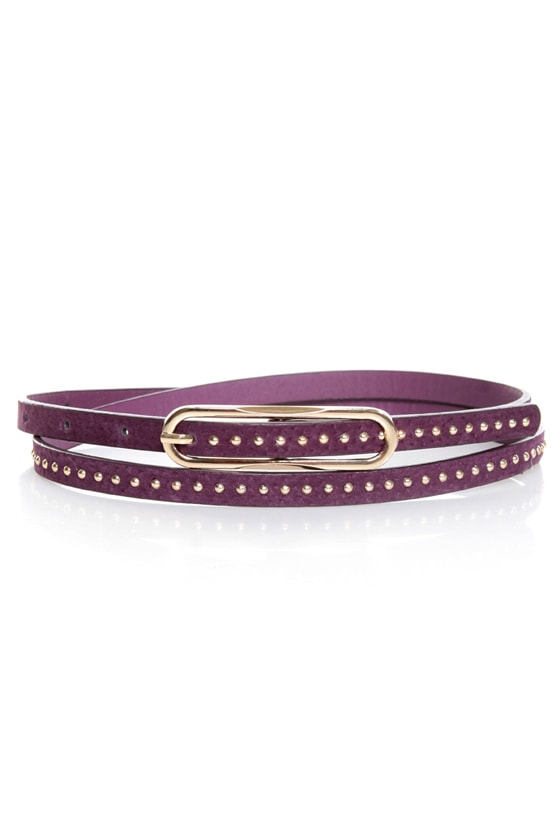 Lots of Dots Studded Purple Skinny Belt