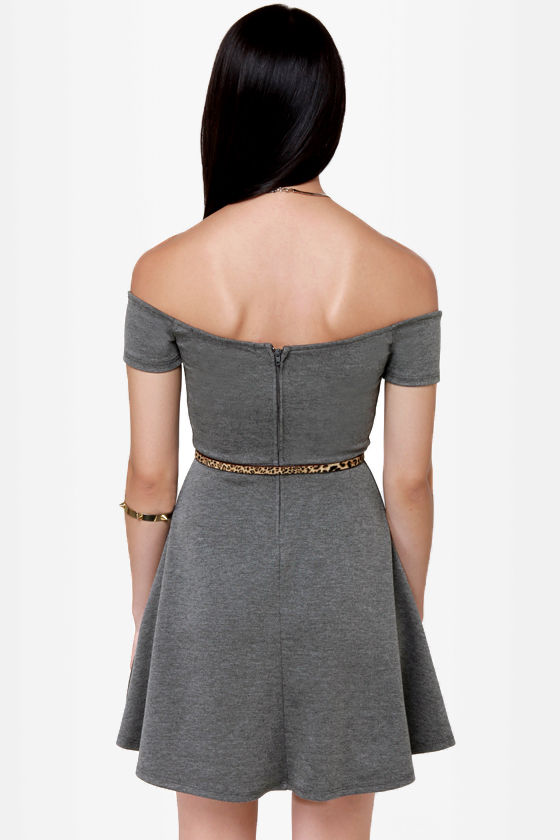 By the Book Grey Off-the-Shoulder Dress at Lulus.com!