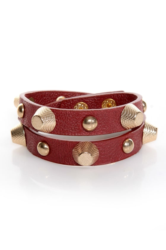 Stud-titles Red Studded Wrap Bracelet at Lulus.com!