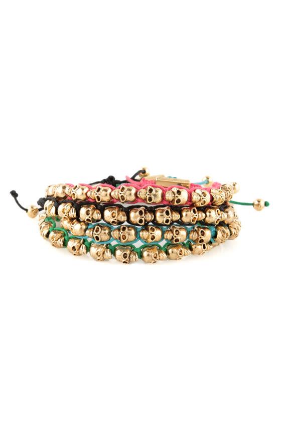 Skull Days Gold and Black Skull Bracelet