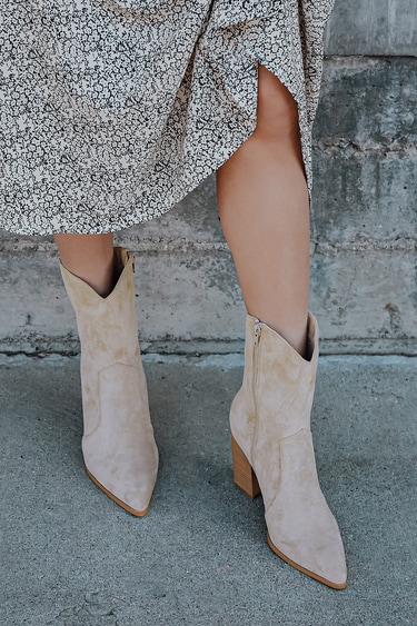 Eleora Medium Nude Suede Mid-Calf High Heel Boots