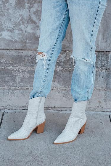Eleora Bone Crocodile-Embossed Mid-Calf High Heel Boots