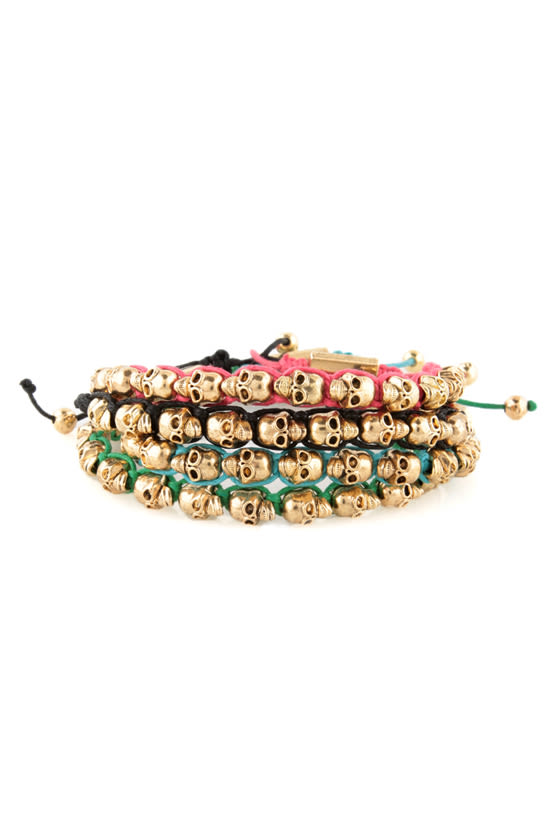 Skull Days Gold and Green Skull Bracelet