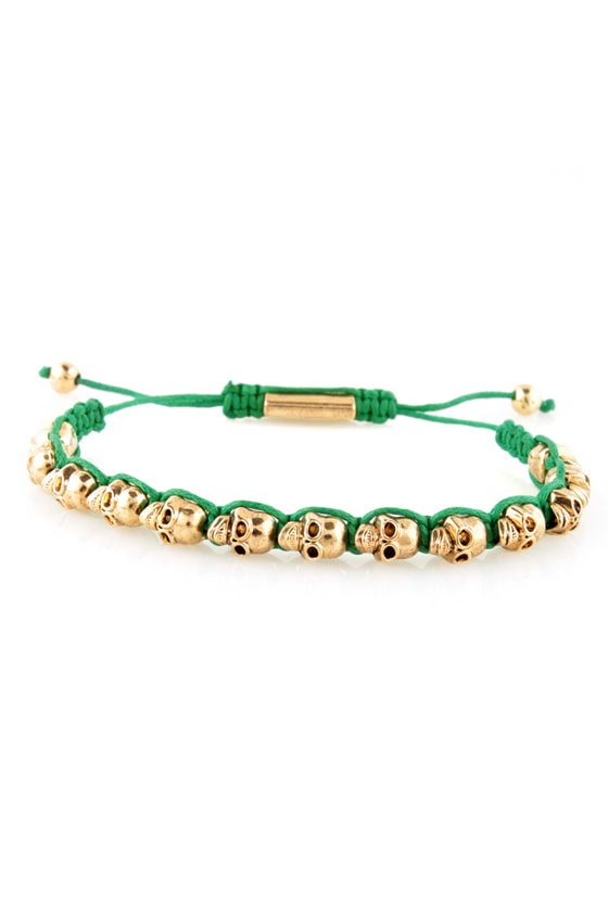 Skull Days Gold and Green Skull Bracelet at Lulus.com!