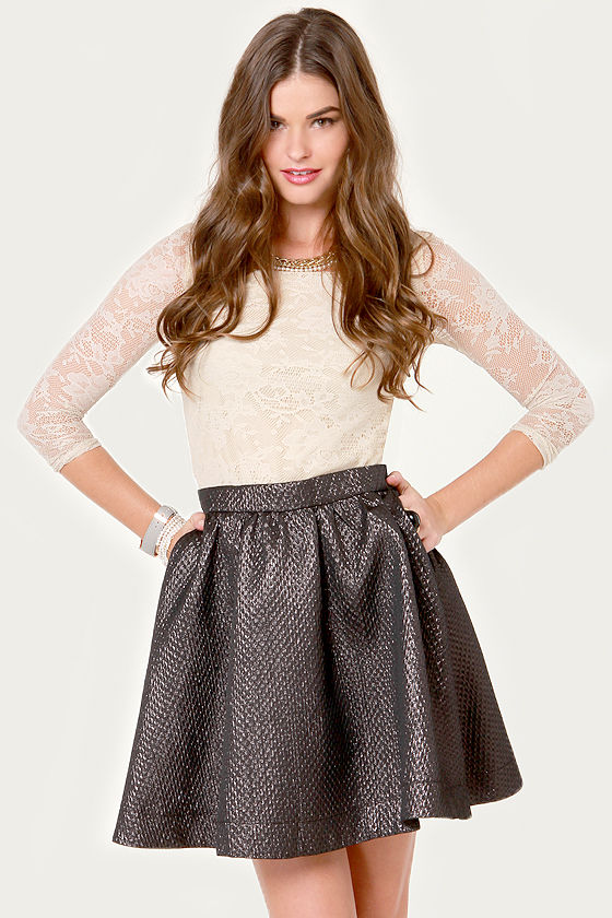 Cute Black Skirt - Mini Skirt - Metallic Skirt - $44.00