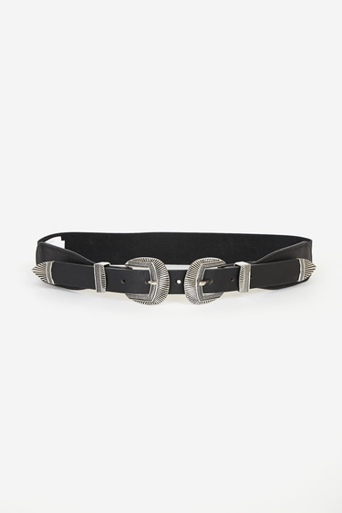 No Wonder Silver and Black Double Buckle Belt