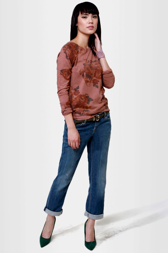 O'Neill Flower Patch Brown Floral Print Top at Lulus.com!