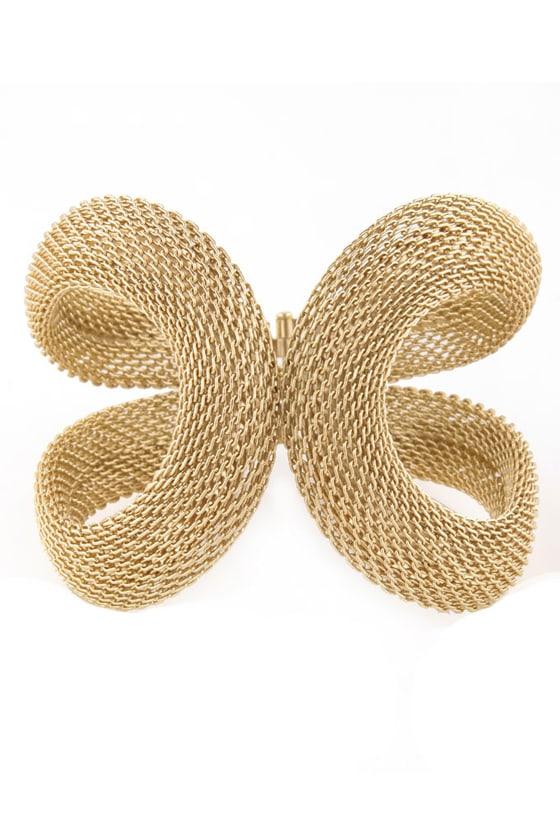 Kissing Coils Gold Cuff Bracelet