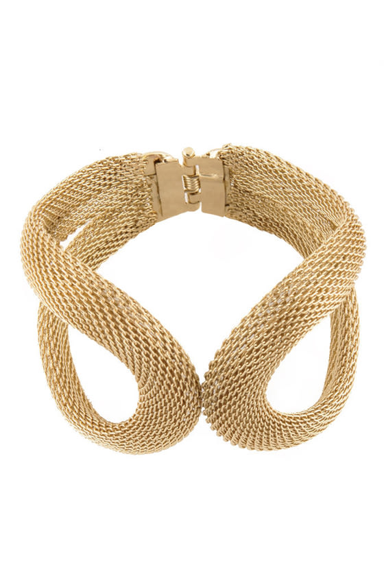Kissing Coils Gold Cuff Bracelet