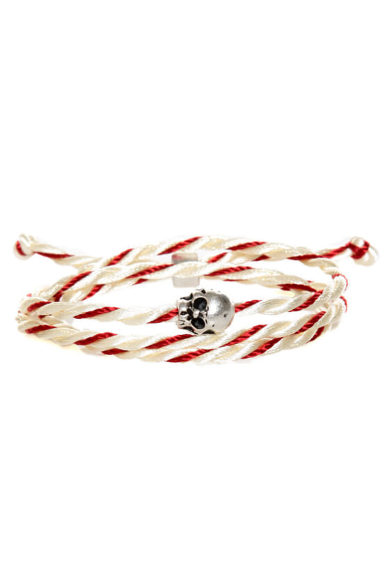 Skull's Out for Summer Red and Ivory Friendship Bracelet at Lulus.com!
