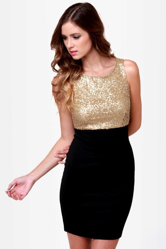 Dressy Black and Gold Dress - Sequin Dress - Sheath Dress - $40.00