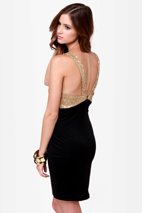 Goldy Two Shoes Black and Gold Sequin Dress at Lulus.com!