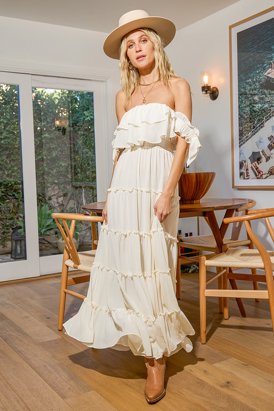 Chance For Us Ivory Off-the-Shoulder Ruffled Maxi Dress Lulus