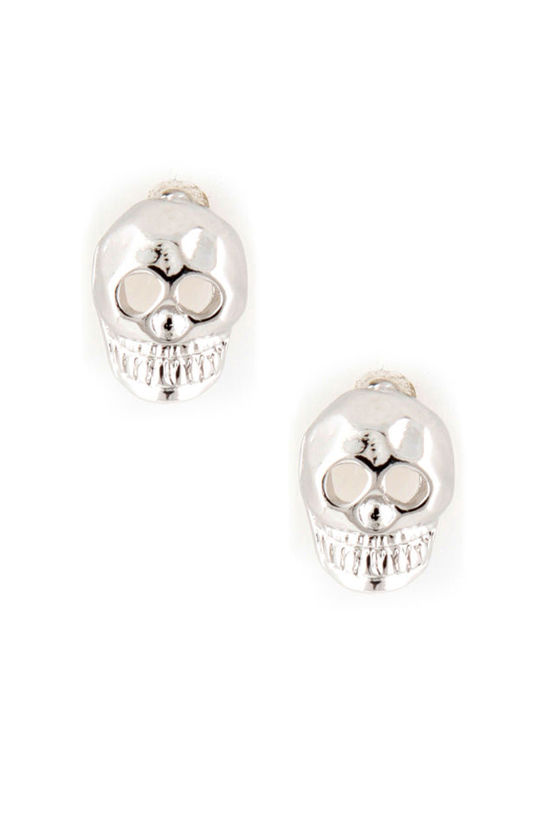 Smoulder & Skully Silver Skull Earrings at Lulus.com!