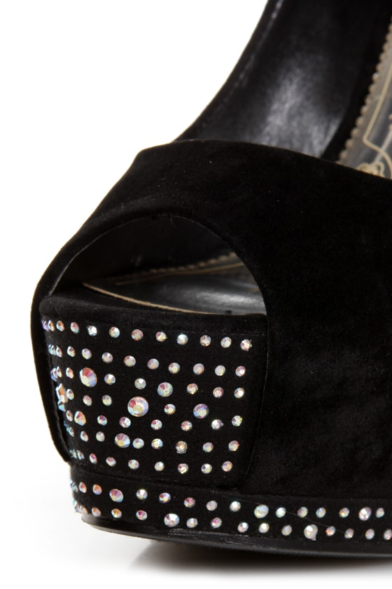 Speed Limit 98 Udon Black Rhinestone Studded Platform Pumps