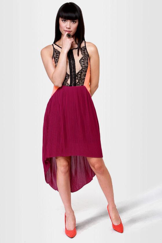 Charleston Charmer Fuchsia Color Block Dress at Lulus.com!
