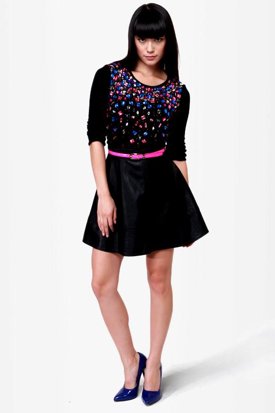 Too Cool For Jewel Black Jeweled Sweater