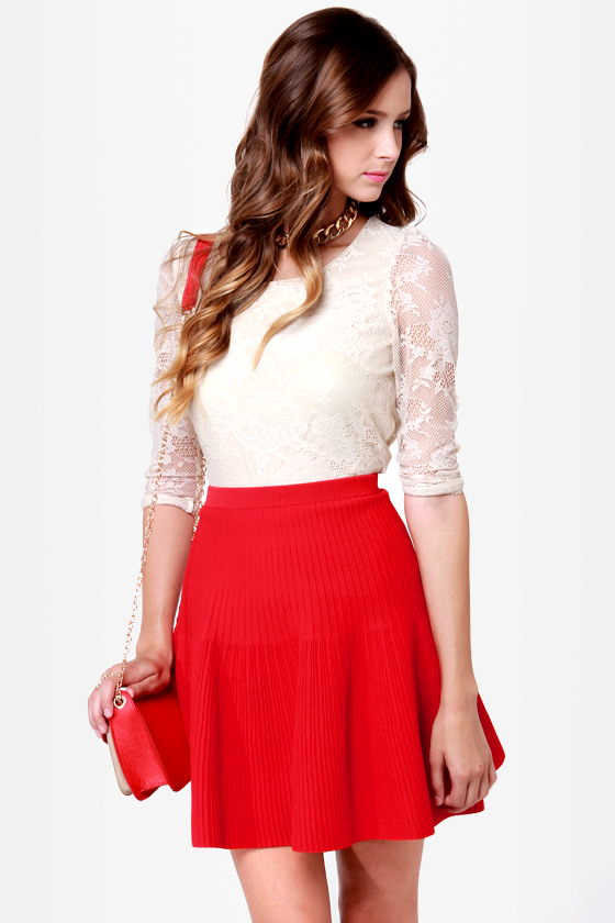 Cute Red Skirt - Flared Skirt - Knit Skirt - $50.00