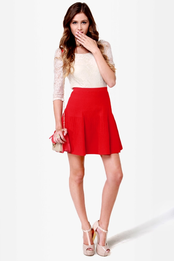 Red Flare Skirt - Dress Ala