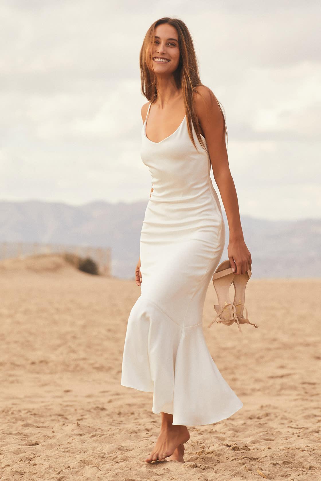 Strictly Romance White Satin Asymmetrical Tiered Midi Dress