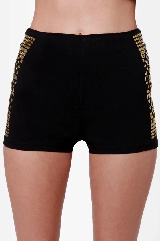Stud Advisory Studded Black Shorts