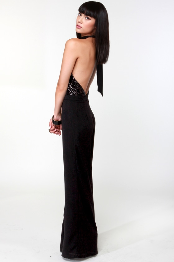 Leave It to Diva Black Sequin Jumpsuit