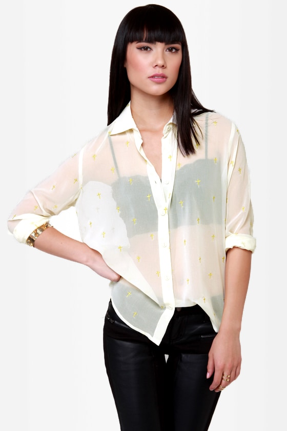 Cross-Promotion Sheer Cream Print Top