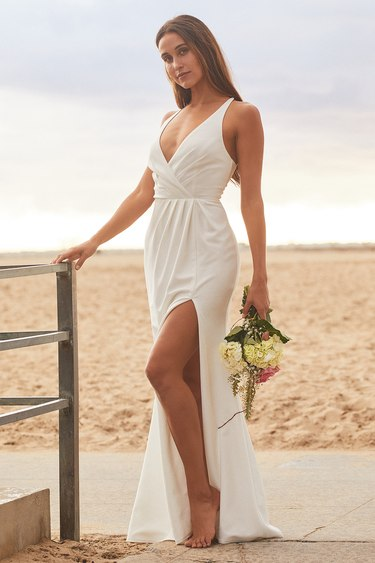 Loving the Moment White Lace-Up Maxi Dress