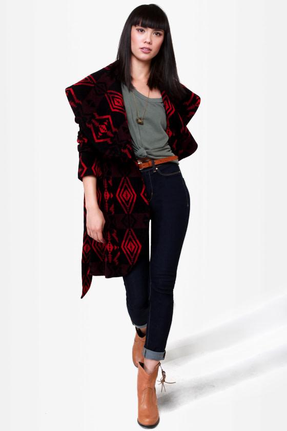 BB Dakota Davida Black Print Coat