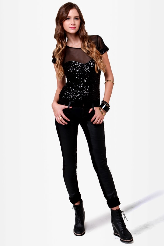 Out to Sequin Black Sequin Bodysuit at Lulus.com!