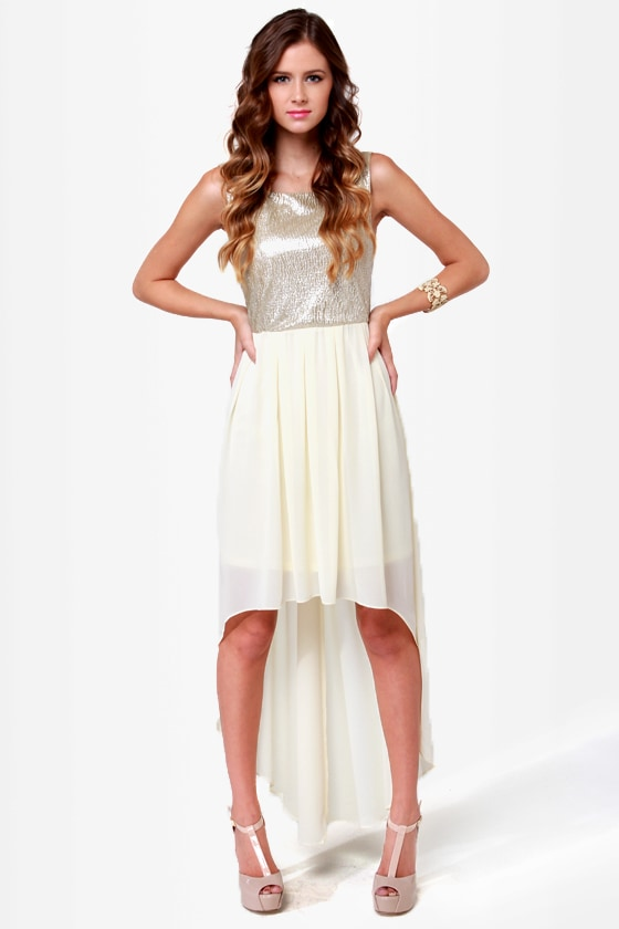 Over the Moon Cream and Gold Dress