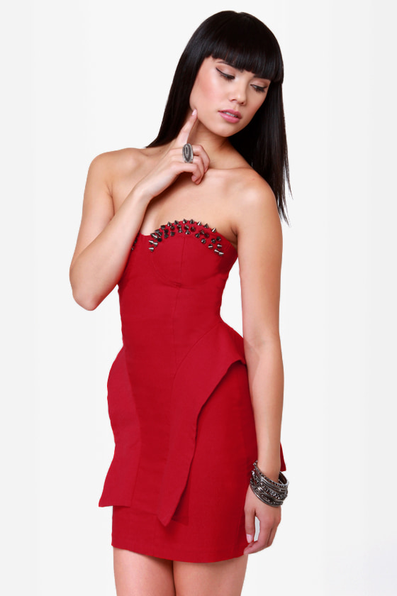 The Empire Spikes Back Studded Red Dress