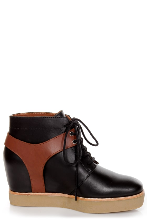 Matiko Jace Black and Brown Lace-Up Wedge Sneakers