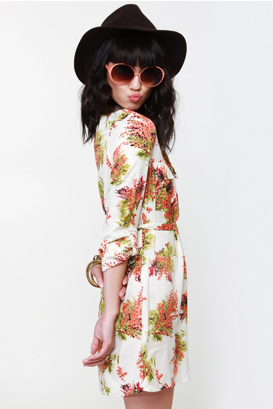 Collective Concepts Meadow Gear Floral Shirt Dress