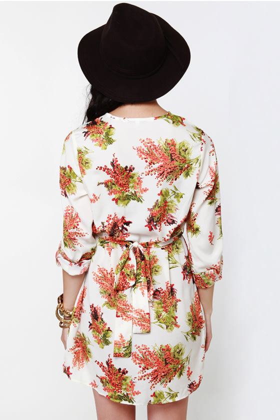 Collective Concepts Meadow Gear Floral Shirt Dress at Lulus.com!