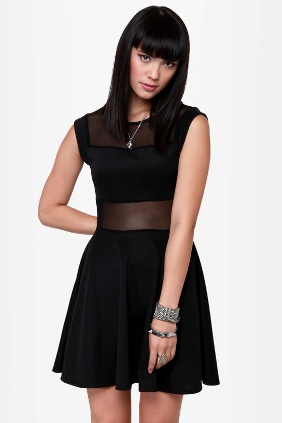 Center Piece Cutout Black Dress