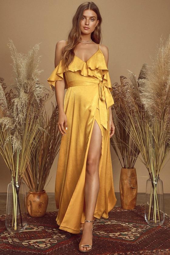 Moriah Mustard Yellow Satin Wrap Maxi Dress