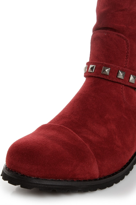Promise Abigail Wine Red Studded Motorcycle Ankle Boots