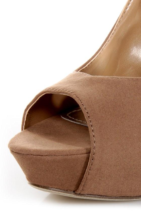 Adele 1 Taupe Velvet Peek-a-Bow Platform Pumps