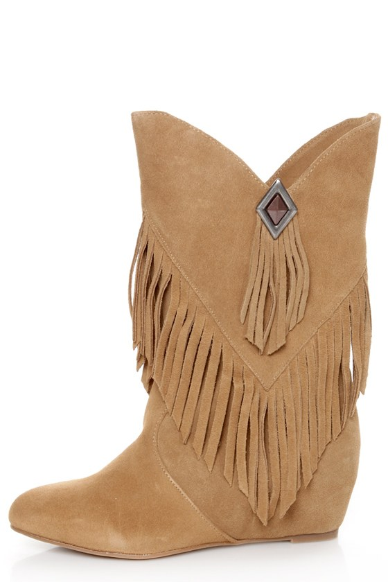 obsession hopey luggage suede fringe wedge boots
