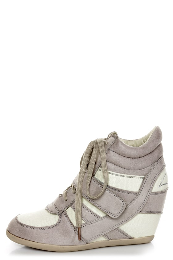 Wild Diva Lounge Bubble 02 Light Grey Lace-Up Wedge Sneakers -  33.00