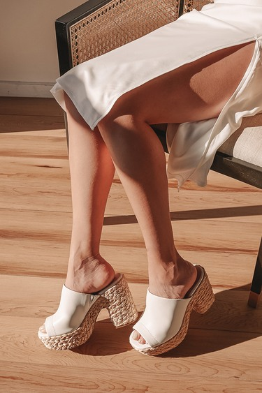 Ervyn White Raffia Platform Slide Sandals